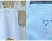 Vintage 1900/1920  French Edwardian white cotton underdress nightgown size XS