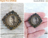 ON SALE Vintage Antique 1900/1910 Edwardian French  lady photo locket  brooch