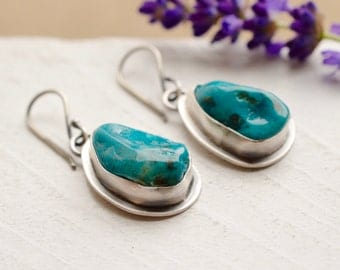 Chrysoprase Earrings, Free Form Stone Earrings, Gift for Her, Boho Chic, Boho Style, Turquoise Colored Stone, 925 Silver Earrings