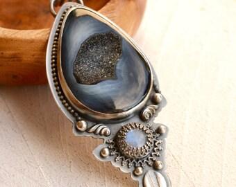 Black Druzy Agate Necklace with Rainbow Moonstone, Agate Pendant, Unique Metalwork, Metalsmith Jewelry, Art Jewelry