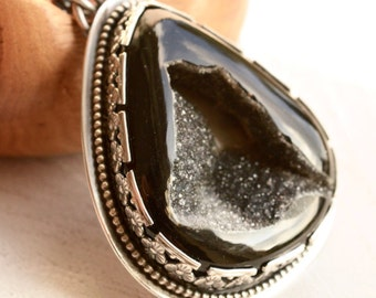 Black Druzy Agate Necklace, Silver Stone Pendant, Detailed Botanical Bezel Work, Hand Fabricated Statement Necklace, Artisan Metalwork