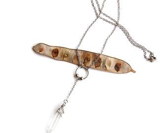 Silver Raw Quartz Necklace (P1820A)