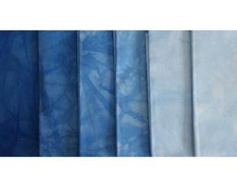 SKY BLUE Shades - hand dyed Fabric - 6 pc Fat Quarter Gradation Bundle - Tuscan Rose B74001