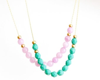 Delicate Beaded Necklace - Gold Plated Chain - Glass Beads - Choose Your Color - Spring Fashion - Girlfriend Gift - Gift For Woman