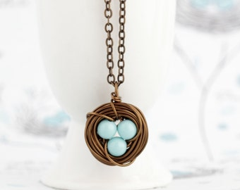 Push Present For Expectant Mom - Gift For Mom - Blue Bird Nest Necklace - Rustic Nature Nest Jewelry -  Bird Nest Necklaces - Family Jewelry