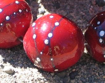 Handmade Glass Lampwork Beads, focal filler art bead Dark Cherry Red/Pure Silver 11mm round
