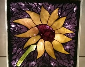 Custom Order Sunflower Lighted Glass Block mosaic purple background
