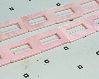 Pink Mother of Pearl Rectangle Donut Beads