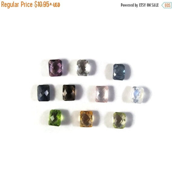 Labor Day SALE - One NON DRILLED Gemstone, You Pick The Stone, Rectangle Stones for Making Jewelry & Setting, 8x6mm Rectangle Gemstone (Luxe
