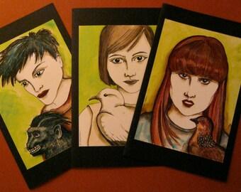 LARGE greeting cards- sandy mastroni,card set ,BIG cards, blank inside, pigeon , dove , monkey