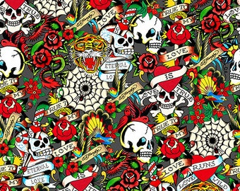 "Ed Hardy  ""Love Is True"" Skulls and roses Roses from Quilting Treasures in Dark Gray"
