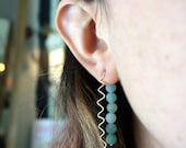 14k Gold-Fill and Amazonite Swiggle Earrrings - Reversible - Double Sided - Green and Gold - Blue and Gold - Contemporary Sculptural Earring