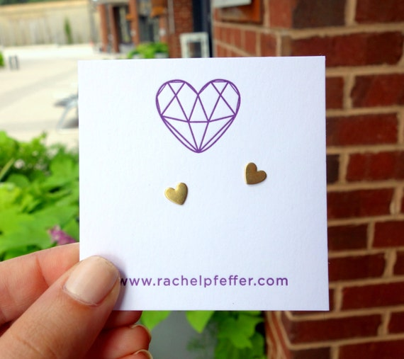 Tiny Brass Heart Studs with Sterling Silver Posts- Ready to ship