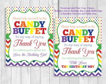 Printable 8x10 Rainbow Chevron & Polka Dots Birthday Party Candy Buffet Sign -Birthday Girl or Birthday Boy - Instant Download