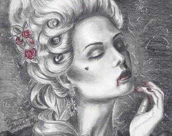 Marie Antoinette Art Print Rococo Art Gothic Art Vampire Art Print 8x10 Halloween Art Versailles
