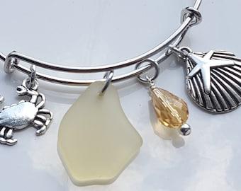 Sea Glass Bracelet Expandable Adjustable Bracelet Yellow Sea Glass Bracelet Yellow Sea Glass Charm Bracelet B-219
