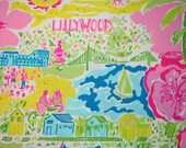 """Lilly Pulitzer fabric """"LILLYWOOD"""" Rare and Hard to Find  15"""" by 16"""""""