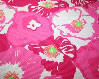 """Lilly Pulitzer~2010~ fabric """"SCARLET BEGONIA""""  Waffle Weave Cotton"""