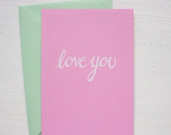 light pink LOVE YOU folded notecards