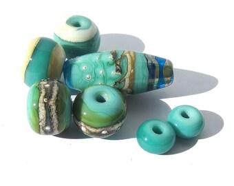 Handmade Lampwork Glass Bead Set Turquoise Fine Silver Ivory
