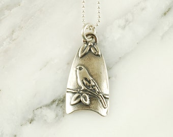 Canary Pendant - Sterling Silver Bird Necklace