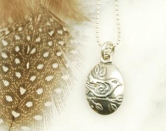 Sparrow Pendant - Sterling Silver Bird Necklace