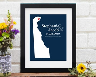 Wedding Gift, Personalized Delaware State Wedding, Anniversary Paper Gift, Personalized Engagement Gift, Nursery Art - Art Print