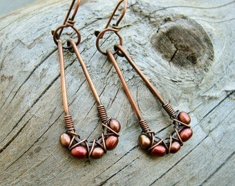 Wire Wrapped Freshwater pearl earrings - rose bronze pearls criss cross woven in antiqued copper