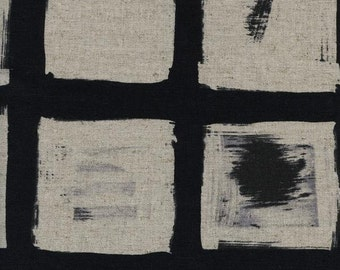 Wood Black Cotton/Linen fabric by Melody Miller from Black and White 2016 for Cotton+Steel