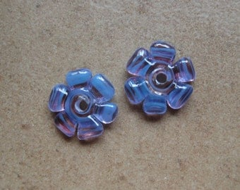 Lampwork Beads - SueBeads - Disc Beads - Orchid Cut Disc Flower Bead Pair - Handmade Lampwork Beads - SRA M67
