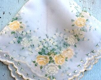 Yellow Rose Flocked Nylon Vintage Hankie with Scalloped Edge