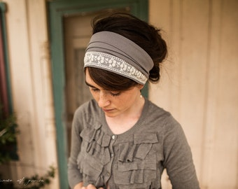 Delicate Lace in Gray Garlands of Grace Specialty Lace headwrap headcovering veil headband