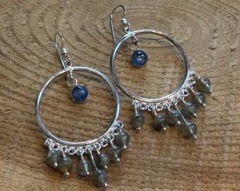Dangle earrings, kyanite earrings, chandelier earrings, labradorite earrings, boho, gypsy earrings, silver unique earrings - At Last E8027