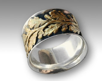 Sterling silver ring, two tones ring, vine ring, gold silver ring, wide silver band, leaves ring, leaf band, gypsy ring - Connected R2093