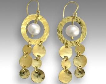 Gold Wedding earrings, boho earrings, pearl earrings, hippie earrings, gypsy earrings, bohemian earrings - Elegance is an attitude EG2032-1