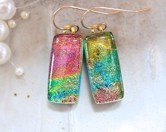 Pink Earrings, Gold, Aqua, Dichroic Glass Earrings, Glass Jewelry, Dangle, Gold Filled, A12