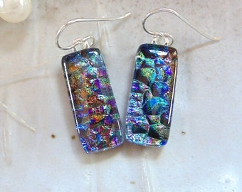 Fused Dichroic Glass Earrings, Dangle, Fused Glass Jewelry, Purple, Blue, Copper, Green, A3