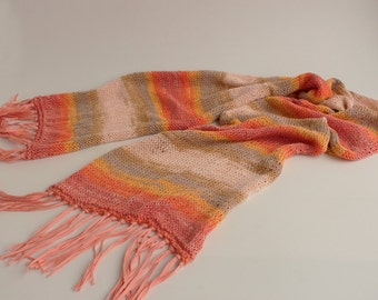 SALE-Melange cotton scarf, hand knitted, ready to ship