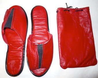 Red Leather Travel Slippers Foldable Lightweight Women Hotel Slips Kid Leather Vintage 40s Size 6 - 7 - Never Worn - Storage Pouch