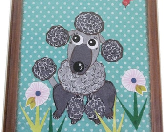 Dog Leash Holder, Hanger, Hook, Key Holder, Hanger, Hook, Wall Hanging Plaque, Nursery Baby's Room,Poodle Dog, Puppy, 5x7, READY TO SHIP