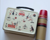 Vintage Lunch box and thermos, High School theme