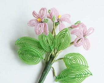 Vintage glass bead flower