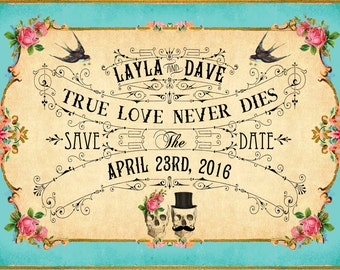 JEZEBEL - DIY Printable Save The Date Cards - Digital Download - Boho Antique Art Deco Skull Day of The Dead Vintage Wedding - Personalized