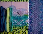 DIY Fabric and notions Lilac Cobalt Flowers & Green Leopard for 1 BRA and BRIEF by Merckwaerdigh