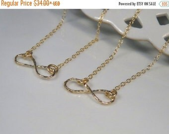 ON SALE - Gold infinity necklace, Matching sister necklaces, Best friend infinity necklace, 2 best friend necklace