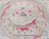 Porcelain Rose Keepsake Trinket Box, Hand Painted, Original Design, Pink Roses, White Accents, ECS
