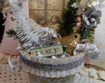 Peace, Paper Mache Pot filled with Vintage Angel Window Graphic and lots of Christmas Trims, Home Holiday Accent Display, ECS