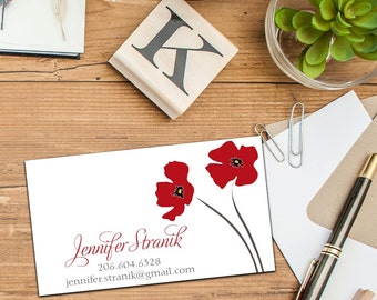 Poppy Blossom Calling Card, Business Cards, Set of 50 Cards, Set of 100 Cards, Fun Sophisticated Calling Cards, Personal Contact Cards