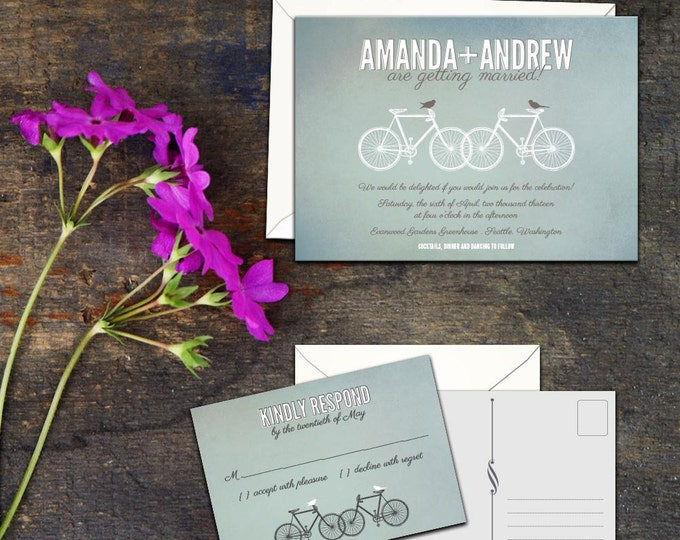 Bicycles Wedding Invitation Set, Bicycles and Birds Invitation, Bicycles Thank you Cards, Bicycle Response cards, Invitations and Thank you
