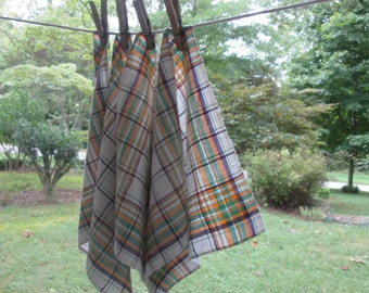 Four Vintage Woven Cotton Napkins - Small Plaid Luncheon Napkins - Green Gold Maroon